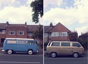 Two Campervans in British Suburbia